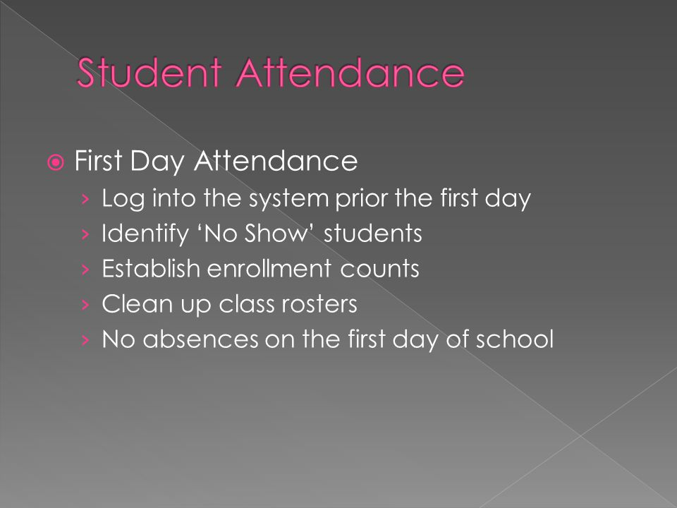  First Day Attendance › Log into the system prior the first day › Identify 'No Show' students › Establish enrollment counts › Clean up class rosters