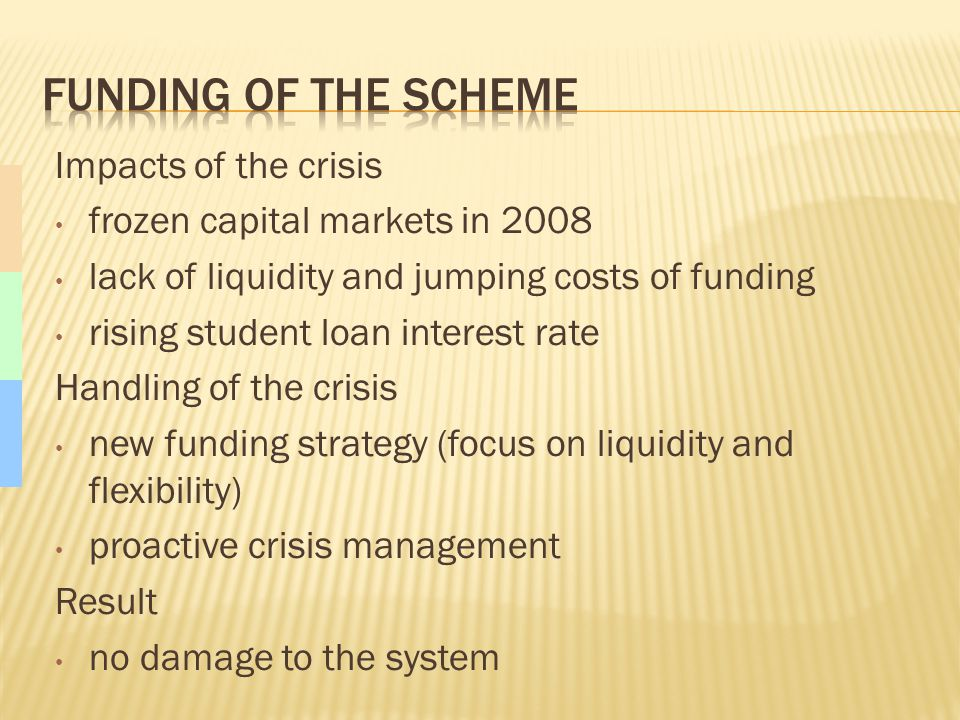 Impacts of the crisis frozen capital markets in 2008 lack of liquidity and jumping costs of funding rising student loan interest rate Handling of the crisis new funding strategy (focus on liquidity and flexibility) proactive crisis management Result no damage to the system