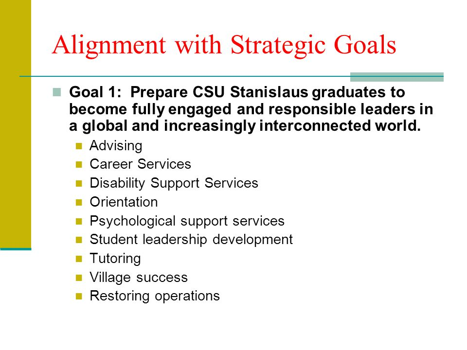 Alignment with Strategic Goals Goal 1: Prepare CSU Stanislaus graduates to become fully engaged and responsible leaders in a global and increasingly interconnected world.
