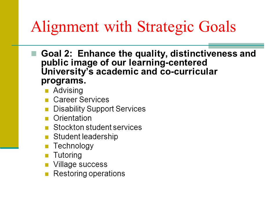 Alignment with Strategic Goals Goal 2: Enhance the quality, distinctiveness and public image of our learning-centered University's academic and co-curricular programs.