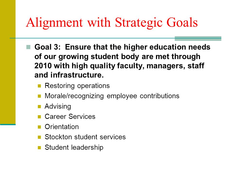 Alignment with Strategic Goals Goal 3: Ensure that the higher education needs of our growing student body are met through 2010 with high quality faculty, managers, staff and infrastructure.