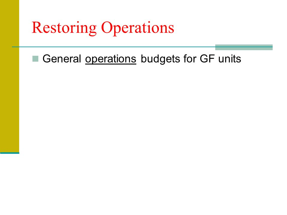 Restoring Operations General operations budgets for GF units