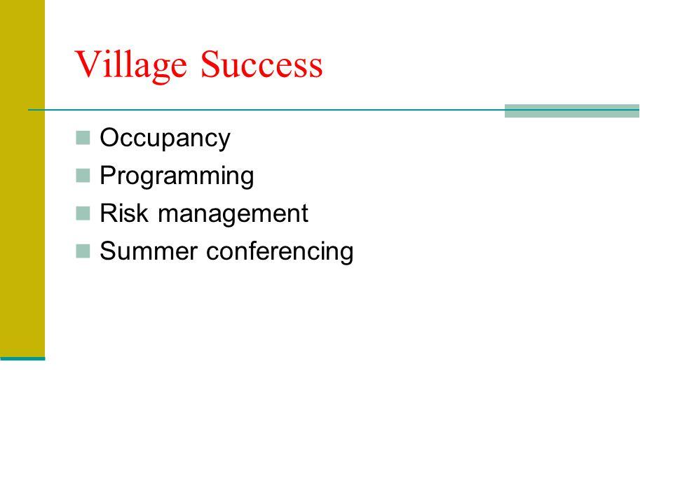 Village Success Occupancy Programming Risk management Summer conferencing