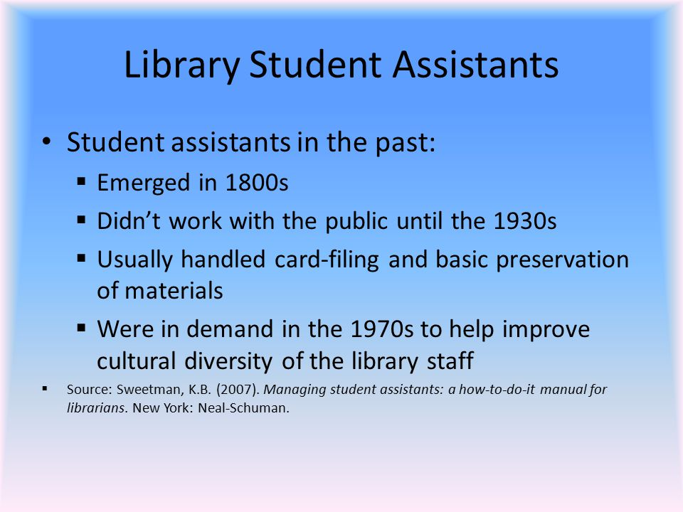 Recruiting and Interviewing Students Students can have many different statuses, including:  Volunteer  Research assistant  Intern  Hourly  Fellow  Federal Work-Study