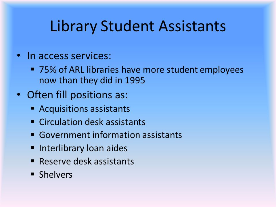 Recruiting and Interviewing Students The interview should address:  Experience (but not be totally based on experience)  Technical knowledge  Creativity  Experience working with the public  What the student likes about the library and the collection  Future plans (but realize that many students change their plans fairly often)