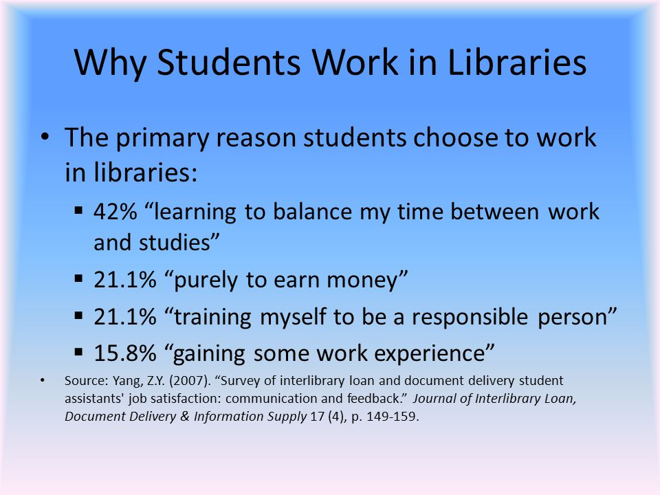 Why Students Work in Libraries The primary reason students choose to work in libraries:  42% learning to balance my time between work and studies  21.1% purely to earn money  21.1% training myself to be a responsible person  15.8% gaining some work experience Source: Yang, Z.Y.