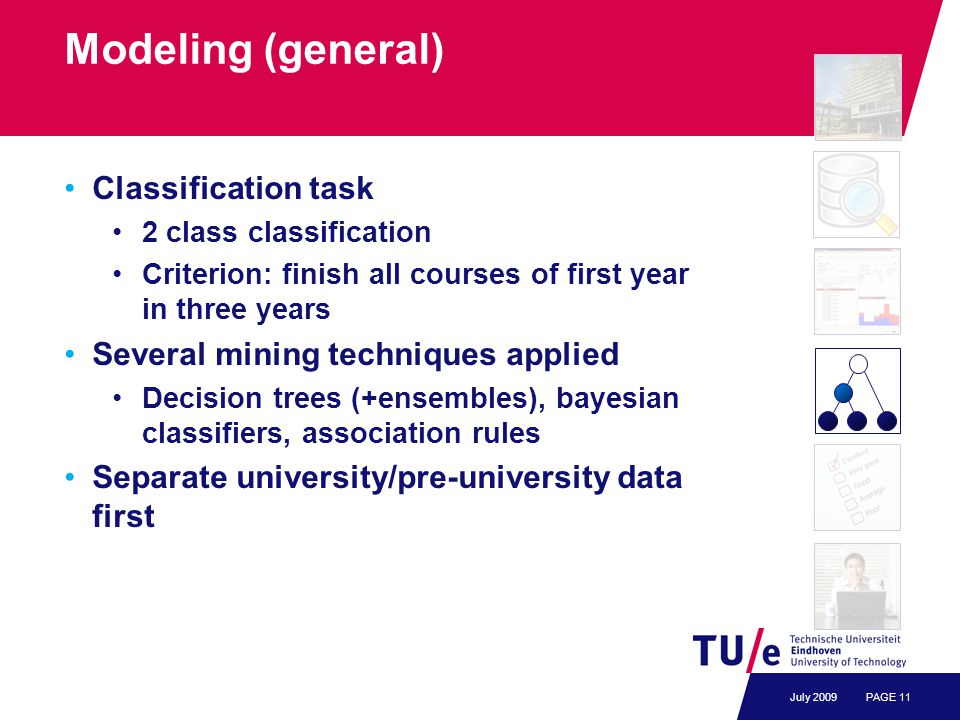 Modeling (general) Classification task 2 class classification Criterion: finish all courses of first year in three years Several mining techniques app