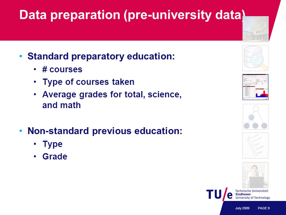 Data preparation (pre-university data) Standard preparatory education: # courses Type of courses taken Average grades for total, science, and math Non