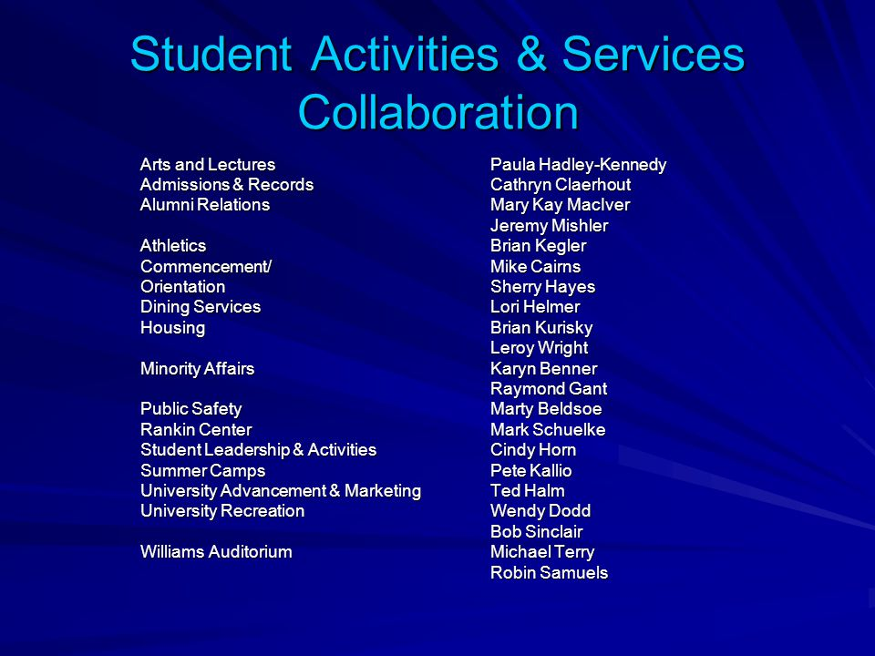 Student Activities & Services Collaboration Arts and LecturesPaula Hadley-Kennedy Admissions & RecordsCathryn Claerhout Alumni RelationsMary Kay MacIv