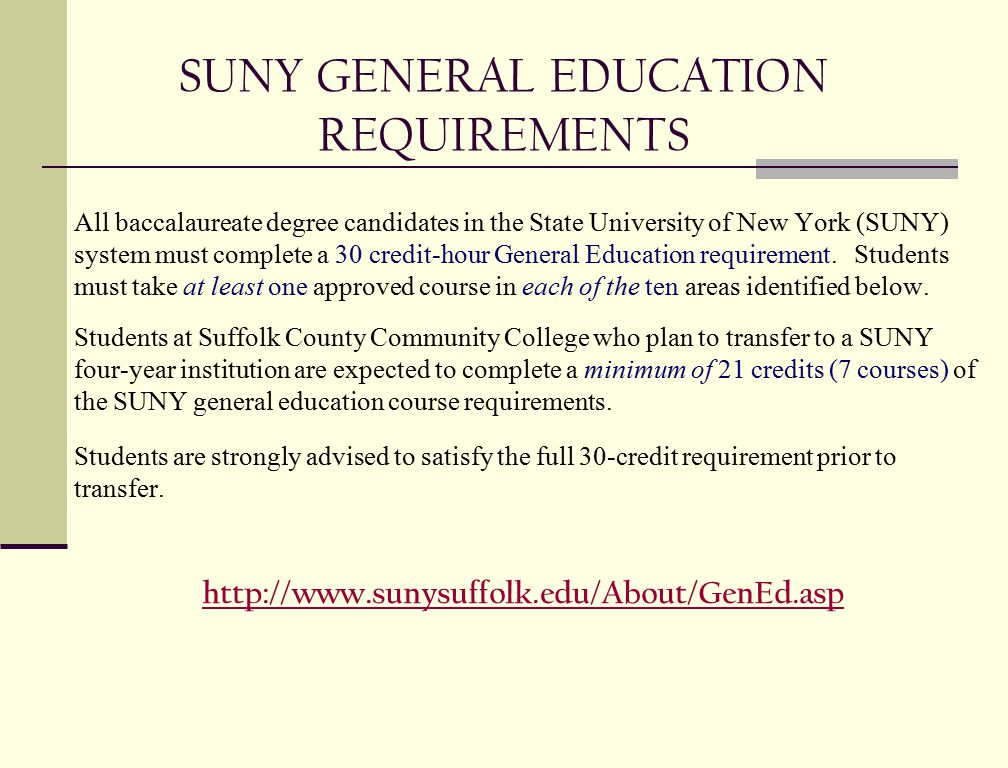SUNY GENERAL EDUCATION REQUIREMENTS All baccalaureate degree candidates in the State University of New York (SUNY) system must complete a 30 credit-hour General Education requirement.