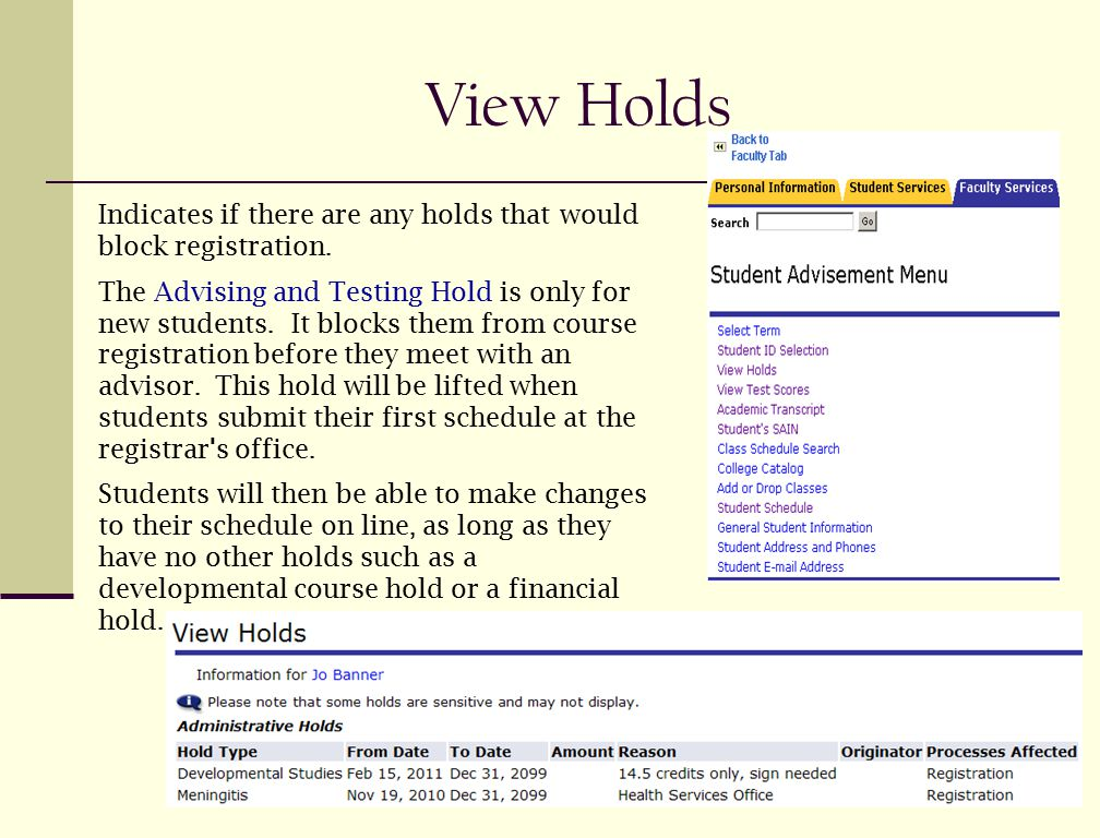 View Holds Indicates if there are any holds that would block registration. The Advising and Testing Hold is only for new students. It blocks them from