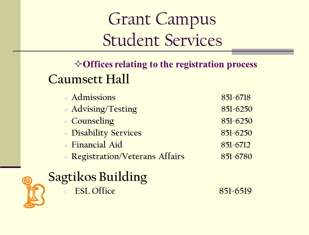 Grant Campus Student Services Caumsett Hall  Admissions 851-6718  Advising/Testing 851-6250  Counseling 851-6250  Disability Services 851-6250  Financial Aid 851-6712  Registration/Veterans Affairs 851-6780 Sagtikos Building  ESL Office851-6519  Offices relating to the registration process