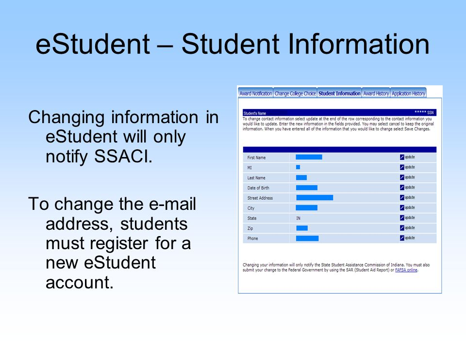 eStudent – Student Information Changing information in eStudent will only notify SSACI. To change the e-mail address, students must register for a new