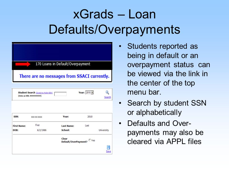 xGrads – Loan Defaults/Overpayments Students reported as being in default or an overpayment status can be viewed via the link in the center of the top