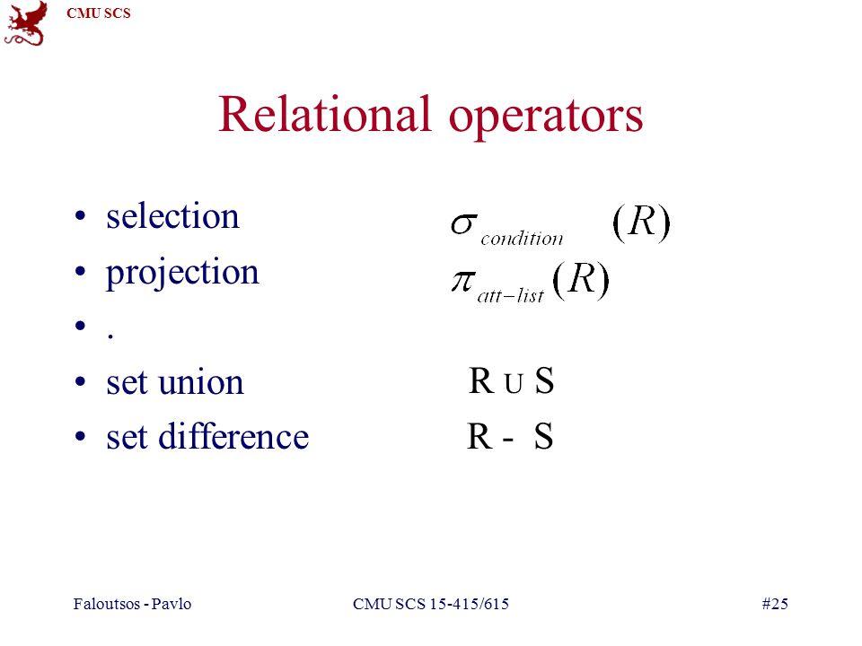 CMU SCS Faloutsos - PavloCMU SCS 15-415/615#25 selection projection. set union set difference R - S Relational operators R U S