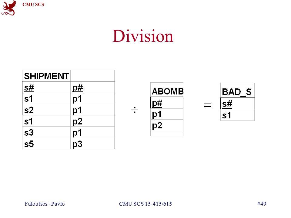 CMU SCS Faloutsos - PavloCMU SCS 15-415/615#49 Division