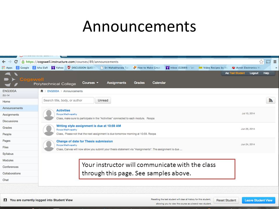 Announcements Your instructor will communicate with the class through this page. See samples above.
