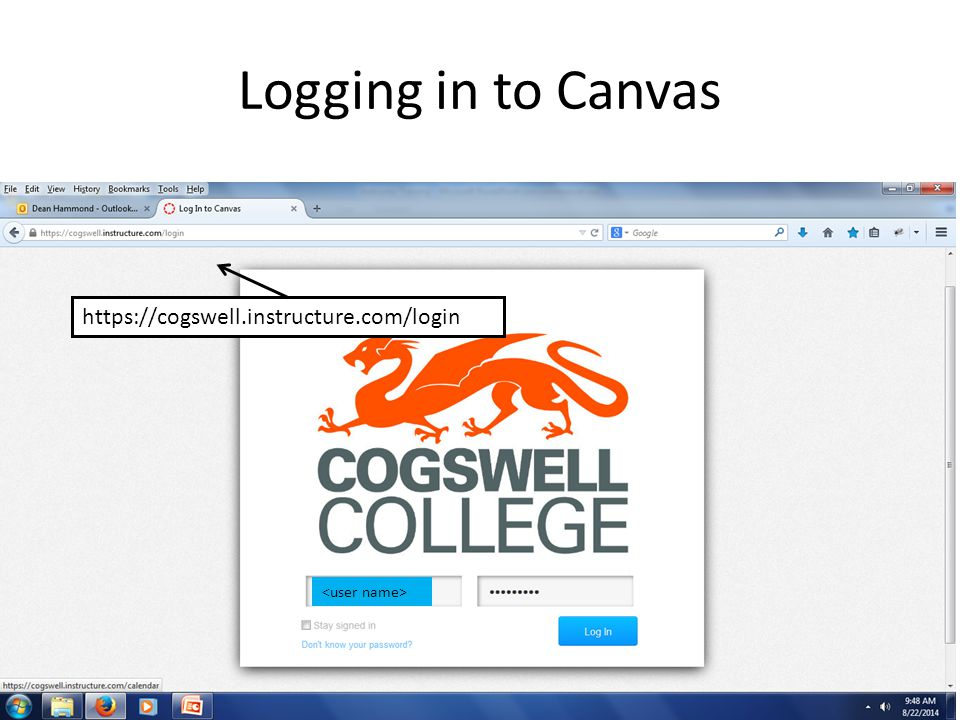 View after Logging in to Canvas