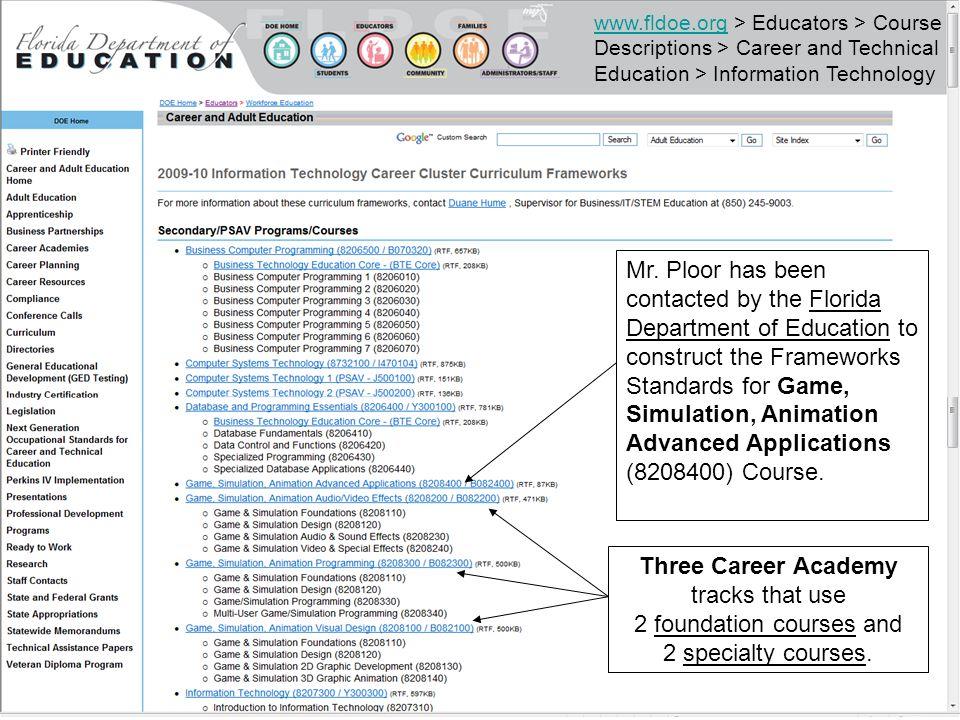 www.fldoe.orgwww.fldoe.org > Educators > Course Descriptions > Career and Technical Education > Information Technology Mr.