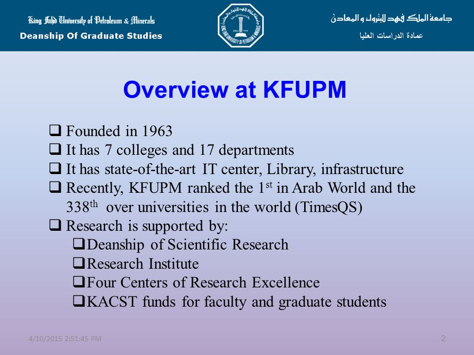 Welcome to KFUPM Rules and Regulations of Graduate Studies 1 4/10/2015 2:53:20 PM