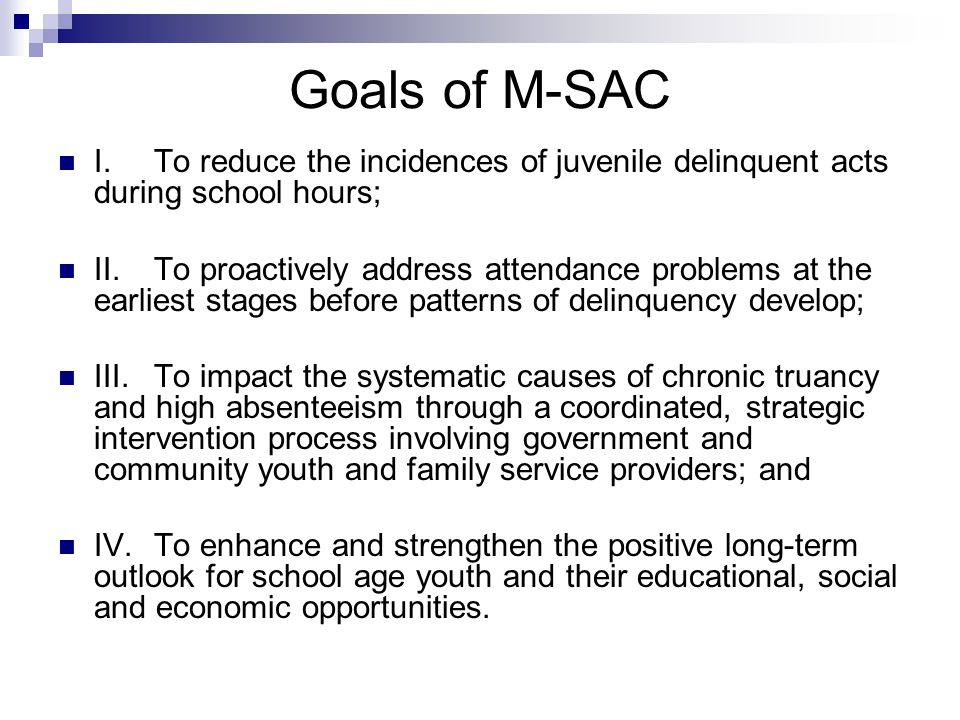 Goals of M-SAC I.To reduce the incidences of juvenile delinquent acts during school hours; II.