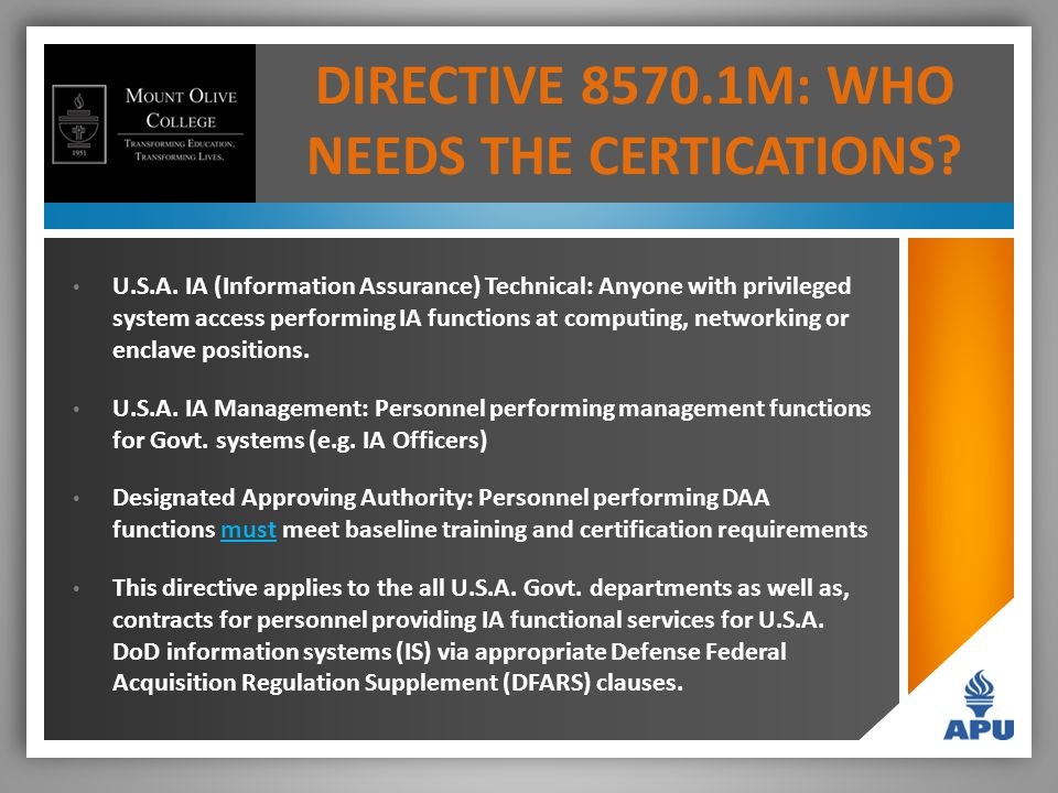 DIRECTIVE 8570.1M: WHO NEEDS THE CERTICATIONS. U.S.A.