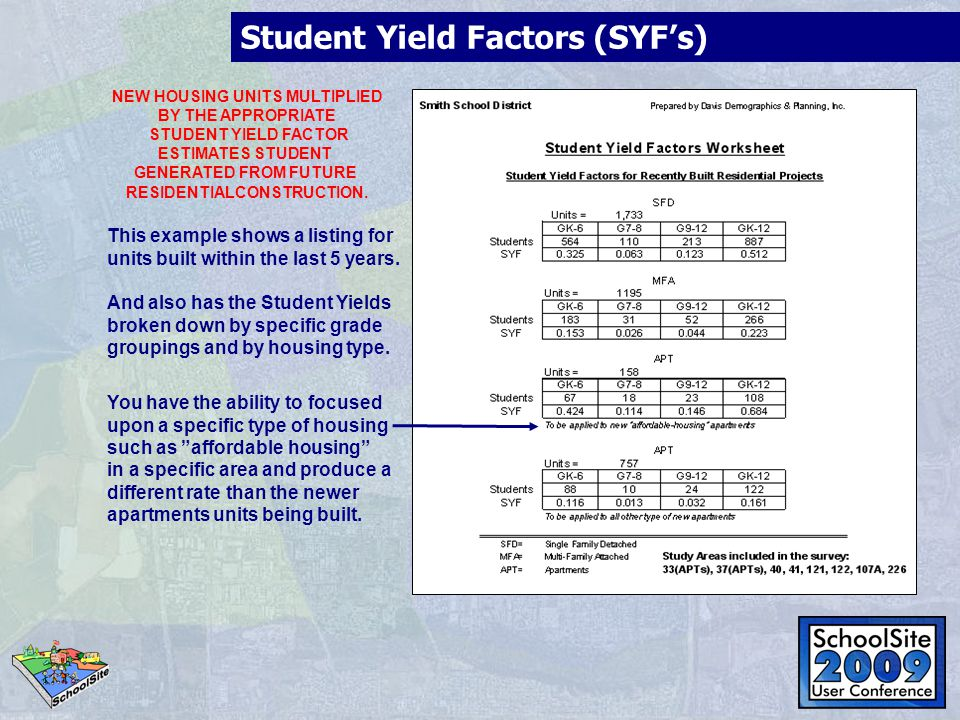 Calculating Student Yield Factors Also referred to as Student Generation Rates (SGR's) To Calculate these rates, two data sets are required: Assessor parcel information and geocoded students.
