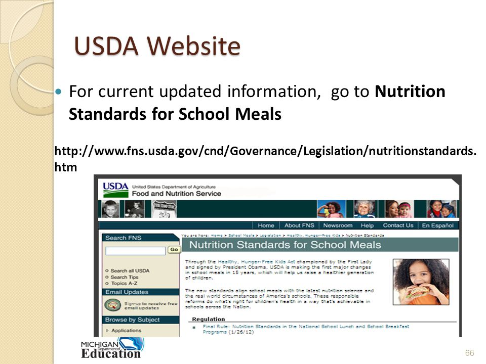 USDA Website For current updated information, go to Nutrition Standards for School Meals
