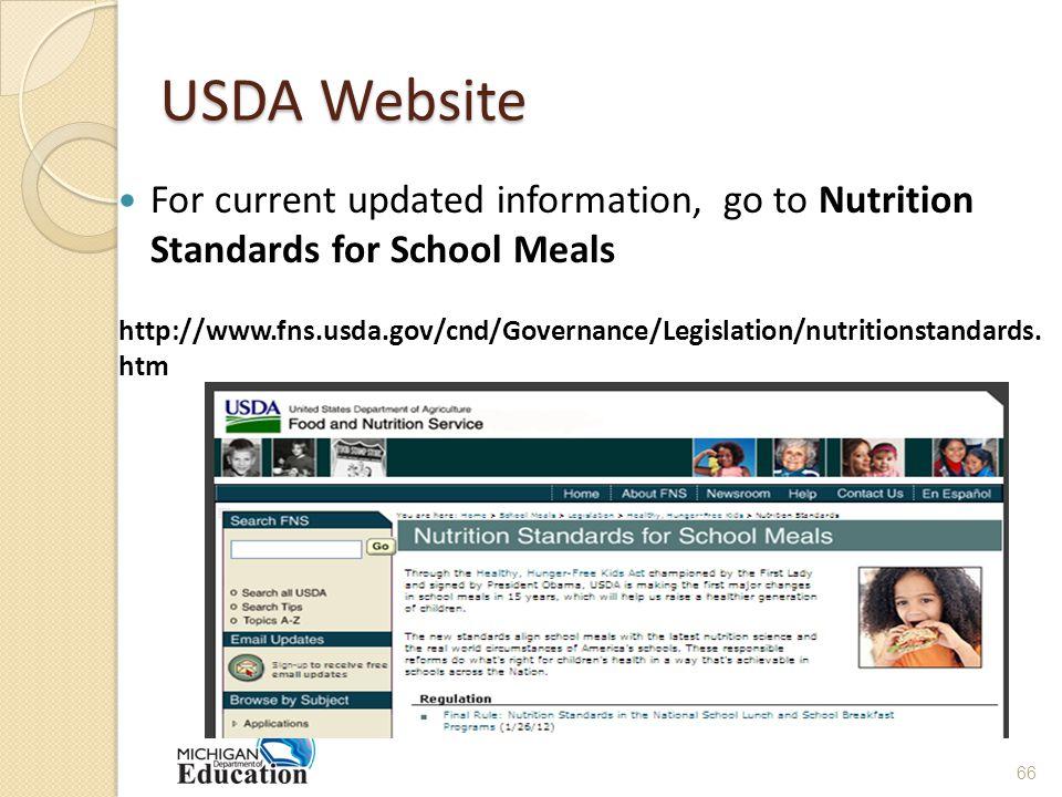 USDA Website For current updated information, go to Nutrition Standards for School Meals http://www.fns.usda.gov/cnd/Governance/Legislation/nutritionstandards.