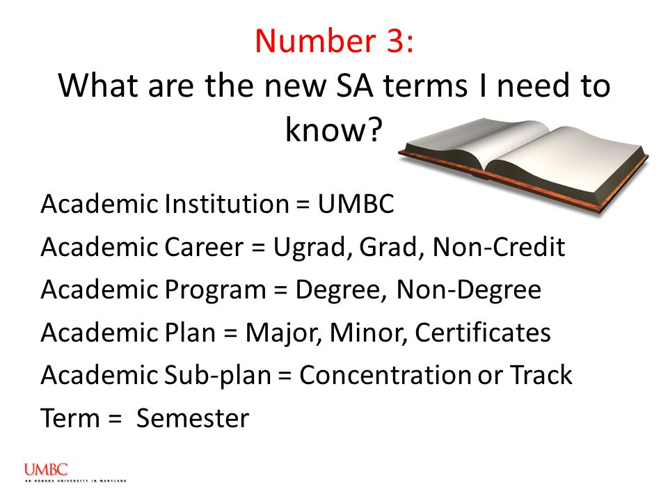 Number 3: What are the new SA terms I need to know.