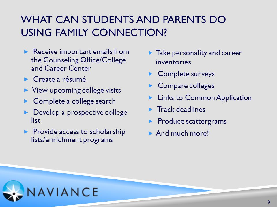 WHAT CAN STUDENTS AND PARENTS DO USING FAMILY CONNECTION.