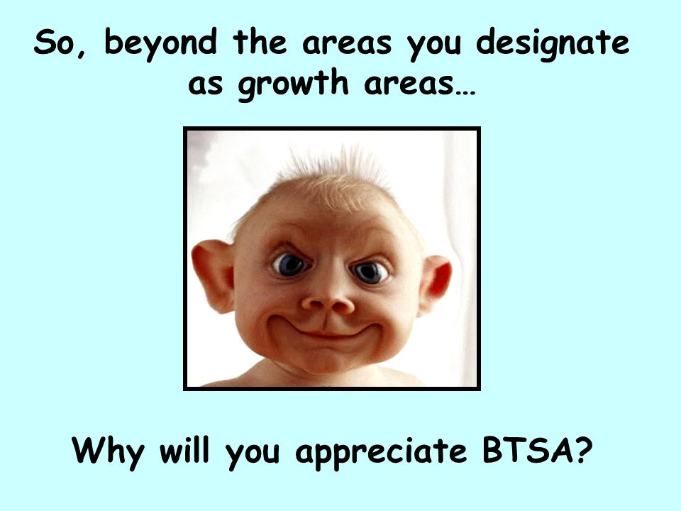 So, beyond the areas you designate as growth areas… Why will you appreciate BTSA?