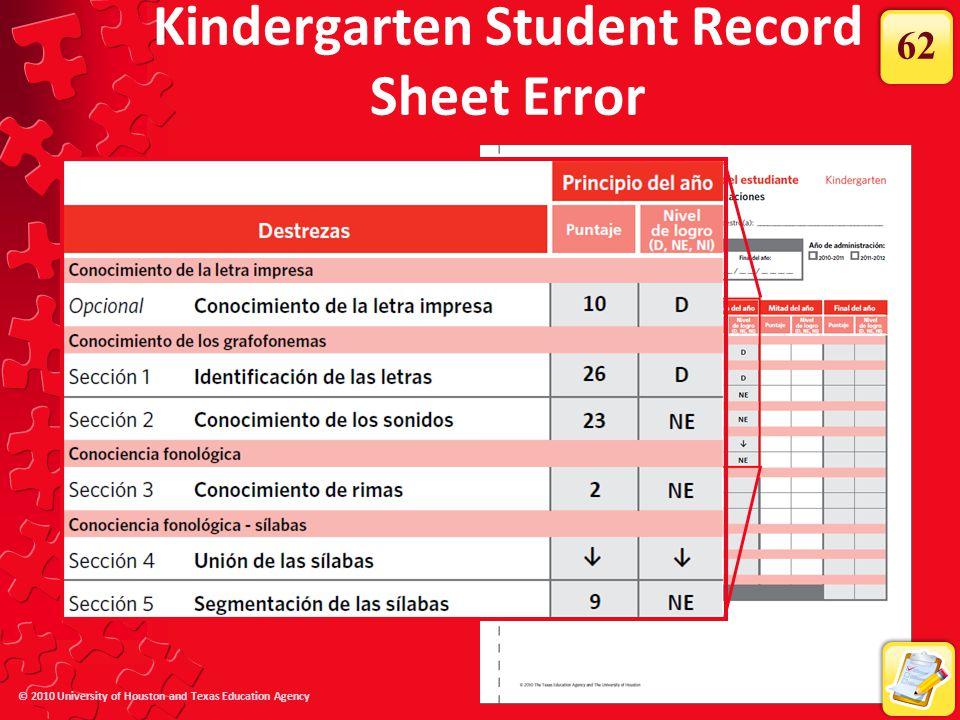 © 2010 University of Houston and Texas Education Agency Kindergarten Student Record Sheet Error 62
