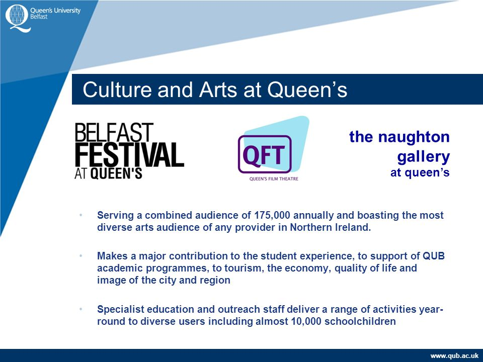www.qub.ac.uk Culture and Arts at Queen's Serving a combined audience of 175,000 annually and boasting the most diverse arts audience of any provider in Northern Ireland.