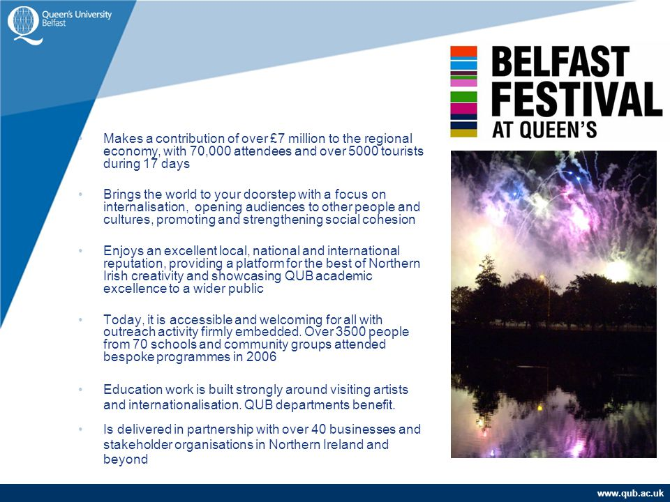 www.qub.ac.uk Makes a contribution of over £7 million to the regional economy, with 70,000 attendees and over 5000 tourists during 17 days Brings the