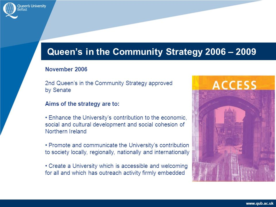 www.qub.ac.uk November 2006 2nd Queen's in the Community Strategy approved by Senate Aims of the strategy are to: Enhance the University's contributio