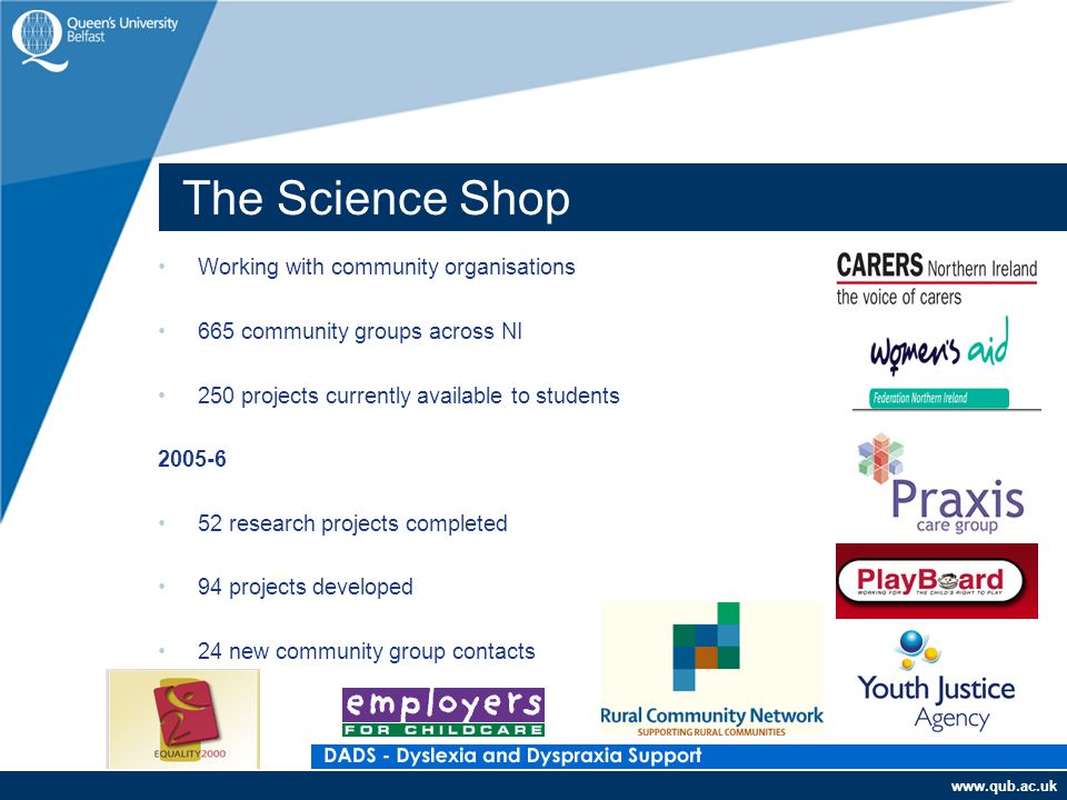 www.qub.ac.uk Working with community organisations 665 community groups across NI 250 projects currently available to students 2005-6 52 research projects completed 94 projects developed 24 new community group contacts The Science Shop
