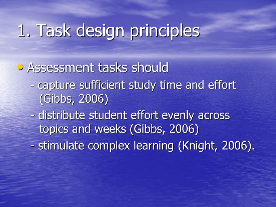 1. Task design principles Assessment tasks should Assessment tasks should - capture sufficient study time and effort (Gibbs, 2006) - distribute studen