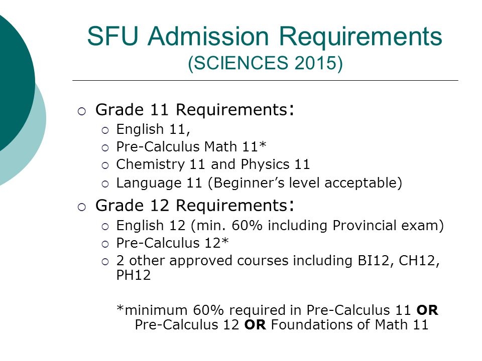 SFU Admission Requirements (SCIENCES 2015)  Grade 11 Requirements :  English 11,  Pre-Calculus Math 11*  Chemistry 11 and Physics 11  Language 11 (Beginner's level acceptable)  Grade 12 Requirements :  English 12 (min.