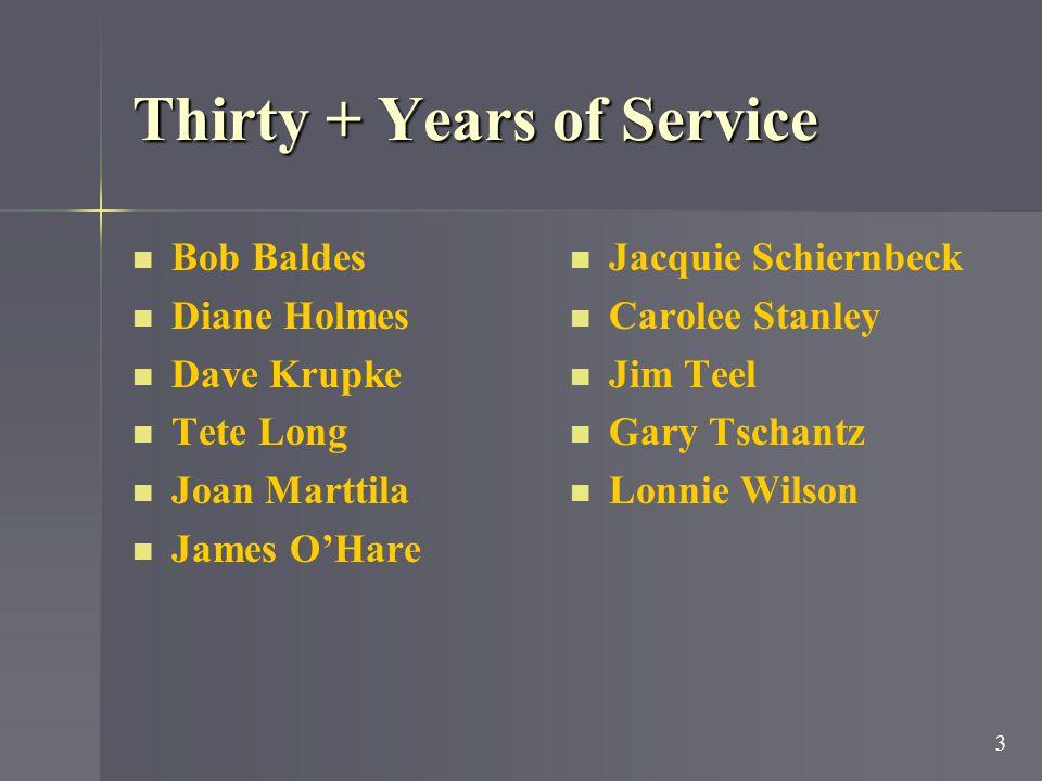 Thirty Years of Service Bob Baldes Paula Blinkinsop Nancy Hawley Diane Holmes Dave Krupke Joyce Leavell Tete Long Joan Marttila Vicki Nimmo James O'Ha