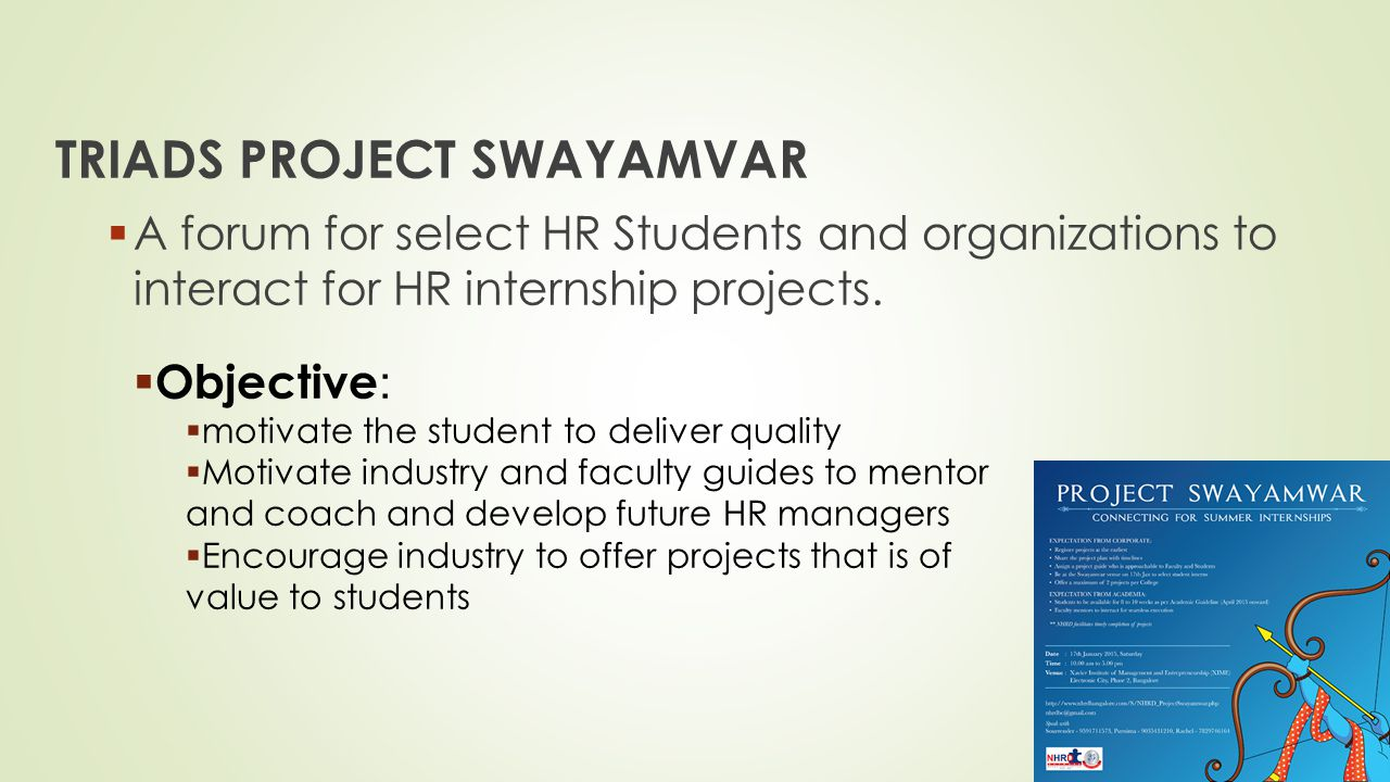 TRIADS PROJECT SWAYAMVAR  A forum for select HR Students and organizations to interact for HR internship projects.  Objective :  motivate the stude