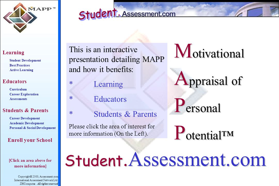Copyright® 2000, Assessment.com International Assessment Network Ltd. ZHComputer. All rights reserved Learning Student Development Best Practices Acti