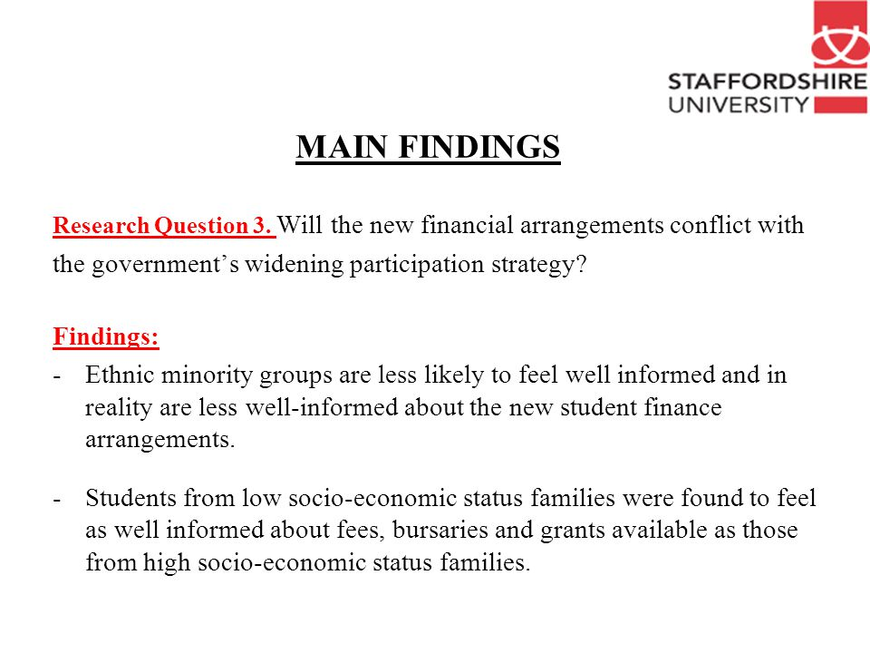 MAIN FINDINGS Research Question 3.