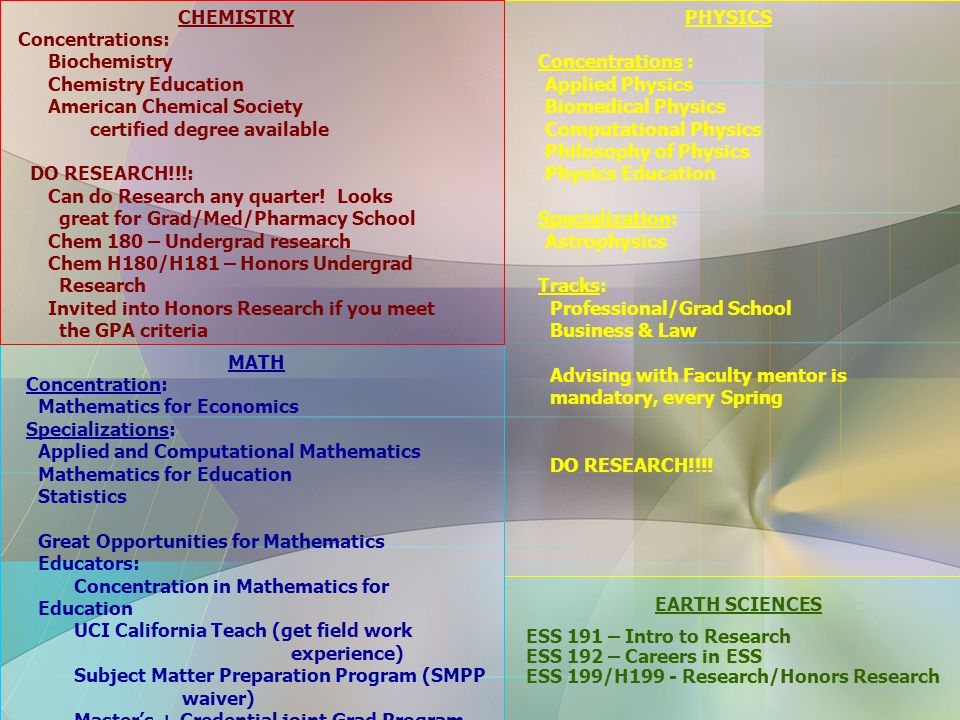 CHEMISTRY Concentrations: Biochemistry Chemistry Education American Chemical Society certified degree available DO RESEARCH!!!: Can do Research any quarter.