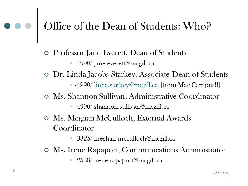 9 April 2008 4 Office of the Dean of Students: Where.