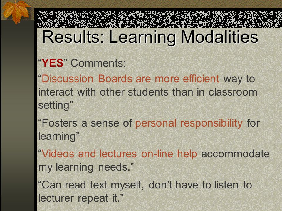 Results: Learning Modalities YES Comments: Discussion Boards are more efficient way to interact with other students than in classroom setting Fosters a sense of personal responsibility for learning Videos and lectures on-line help accommodate my learning needs. Can read text myself, don't have to listen to lecturer repeat it.