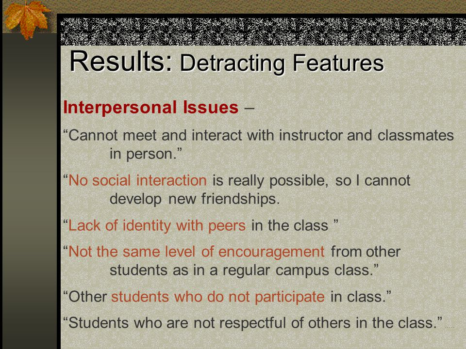 Results: Detracting Features Interpersonal Issues – Cannot meet and interact with instructor and classmates in person. No social interaction is really possible, so I cannot develop new friendships.