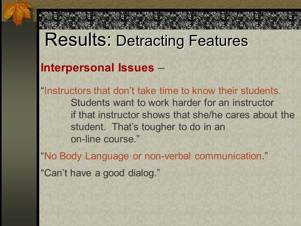 Results: Detracting Features Interpersonal Issues – Instructors that don't take time to know their students.