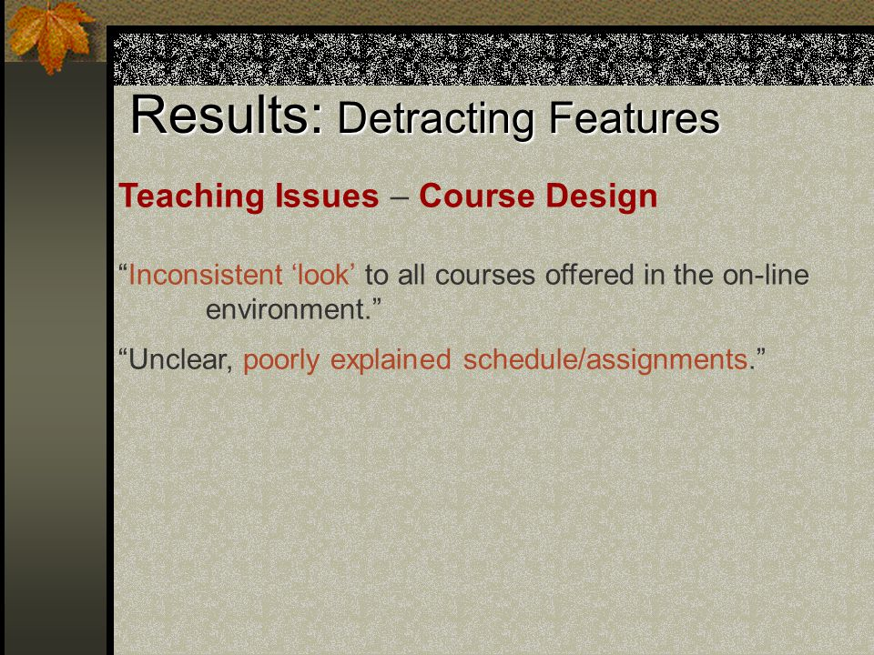 Results: Detracting Features Teaching Issues – Course Design Inconsistent 'look' to all courses offered in the on-line environment. Unclear, poorly explained schedule/assignments.