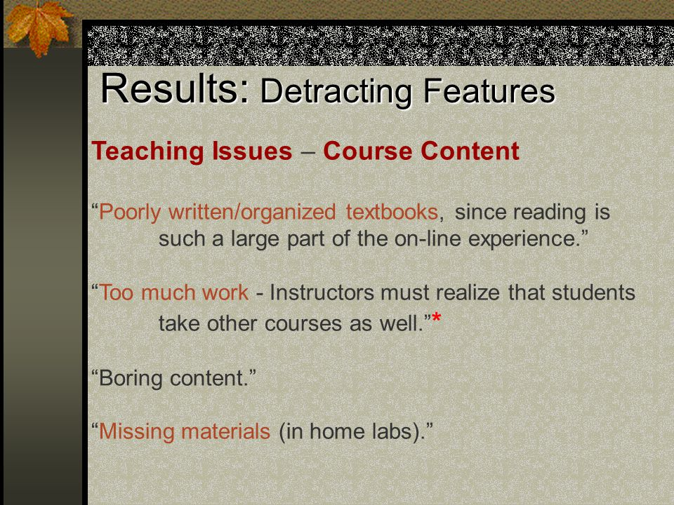 Results: Detracting Features Teaching Issues – Course Content Poorly written/organized textbooks, since reading is such a large part of the on-line experience. Too much work - Instructors must realize that students take other courses as well. * Boring content. Missing materials (in home labs).